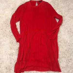 Long sleeved pleated, flowy Zara dress